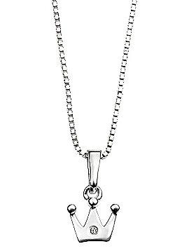 Children's D for Diamond Silver Crown Pendant