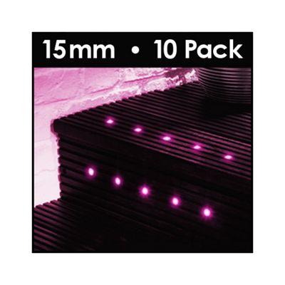 MiniSun Pack of 10 15mm LED Decking Lights in Pink