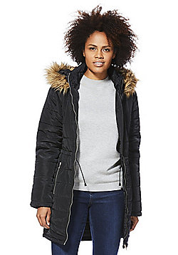 Vero Moda Faux Fur Hooded Puffer Jacket - Black