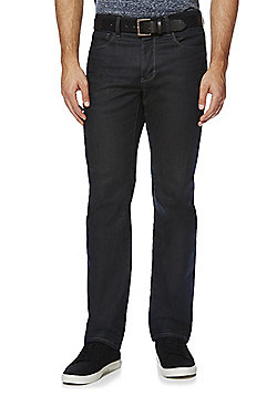 F&F Coated Straight Leg Jeans with Belt - Charcoal
