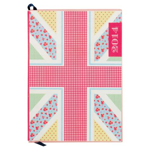 Floral Union Jack A5 Fabric Day A Page 2014 Diary