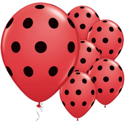 Red & Black Polka Dots 11 inch Latex Balloons - 25 Pack