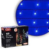100 LED Blue Battery Timer Christmas Lights
