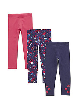 F&F 3 Pack of Floral and Plain Leggings - Blue