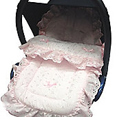 Broderie Anglaise Car Seat Footmuff to Fit hauck Pink