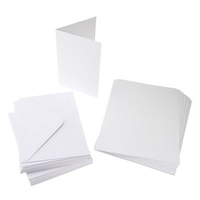 Cards Single Fold A6 White Budget 50 Pk