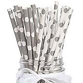 Silver Polka Dot Paper Straws (pack of 10)