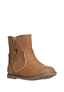 F&F Open Zip Detail Ankle Boots - Tan
