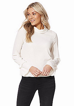 Vero Moda High Neck Bell Sleeve Top - Ivory