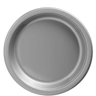 Silver Plates - 23cm Plastic Party Plates - Pack Size 20