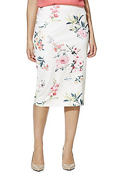 F&F Rose Print Scuba Pencil Skirt - Ivory/Pink
