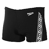 Speedo Monogram Mens Swimming Aquashort Trunk - Black / White - Black