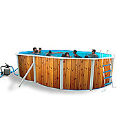 White Coral Wood Effect Oval Steel Pool 5.5m x 3.66m