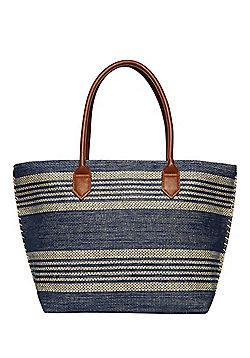 F&F Striped Straw Tote Bag