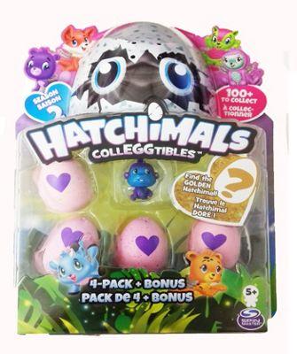 Spinmaster Hatchimals CollEGGtibles 4 Pack + Bonus JUNGLE Purple Monkey Season 2
