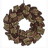 Rustic Cones, Berries and Ribbons Christmas Wreath 39cm
