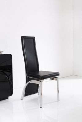 x8 Alisa Steel & Black Faux Leather Dining Chairs