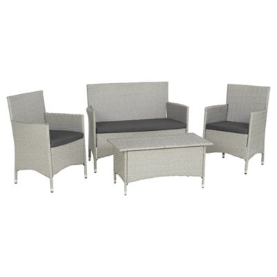 lola 4 piece rattan effect garden lounge set grey