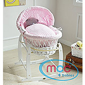 Wicker Moses Basket With Mattress, Cover and Rocking Stand (Pink)