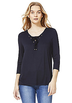 F&F Eyelet Lace-Up 3/4 Length Sleeve Top - Navy