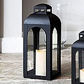Large Black Furnace Battery LED Candle Lantern