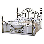 Canterbury Victorian Vintage Antiqued Brass Metal Bed Frame - Brass