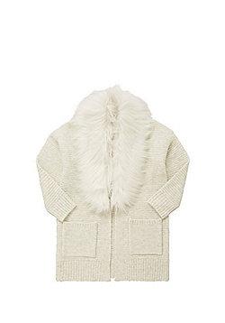 F&F Faux Fur Collar Cardigan - Cream