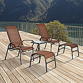 Outsunny 5PC Garden Furniture Set Outdoor 2 Recliner 2 Foot Stool 1 Side Table