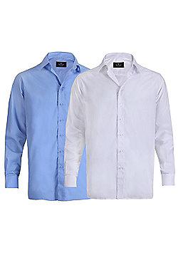Ciro Citterio Mens Long Sleeve Formal Collared Dress Shirt 2 Pack - Multi