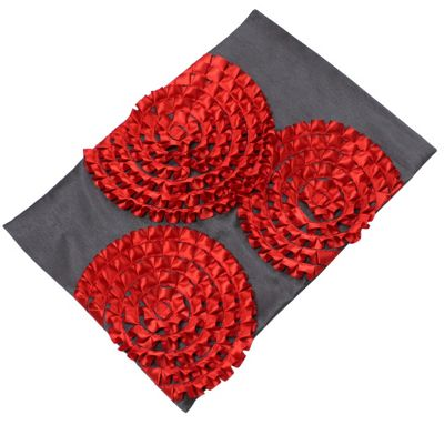 Hot Chilli Red Satin Sunburst Table Runner