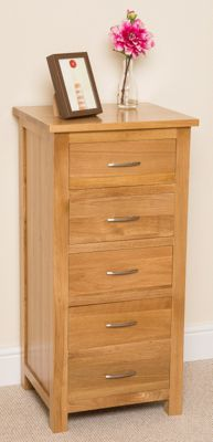 Boston Solid Oak 5 Drawer Chest