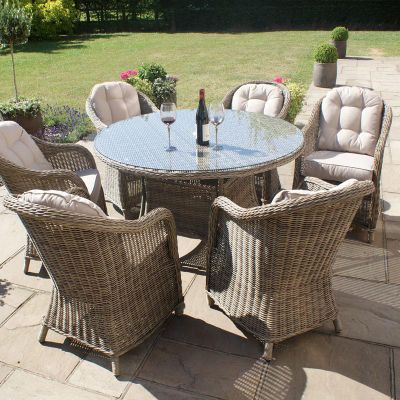 Maze Rattan - Winchester Rounded 6 Seat Set - 1.35m Round
