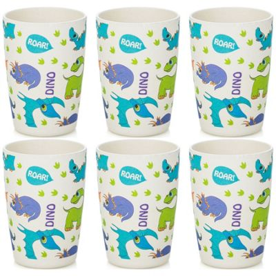 Tiny Dining Children's Bamboo Fibre Juice Cup - Dinosaur - Pack of 6