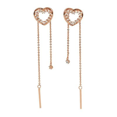Beautiful Gold Plated Heart Shaped Clear Cubic Zirconia Drop Earrings