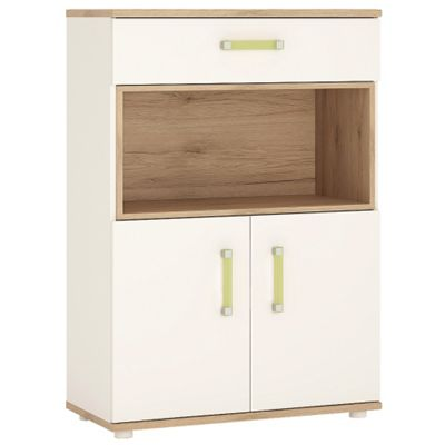 4KIDS 2 door 1 drawer cupboard with open shelf in light oak and white high gloss with lemon handles