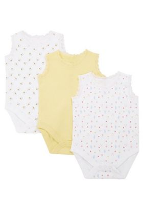 F&F 3 Pack of Bee and Floral Print Sleeveless Bodysuits Yellow Multi 6-9 months