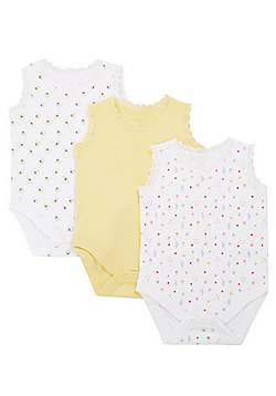 F&F 3 Pack of Bee and Floral Print Sleeveless Bodysuits - Yellow Multi