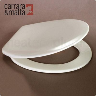 Carrara and Matta Nord Inox Thermoset Luxury Toilet Seat, White, Polished Stainless Steel Hinges