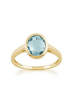 Gemondo 9ct Yellow Gold 2.30ct Oval Blue Topaz Luminosity Ring