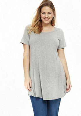 Evans Short Sleeve Plus Size Tunic Grey Marl 14
