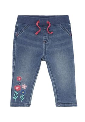 F&F Flower Embroidered Rib Waist Jeans Mid Wash 3-6 months