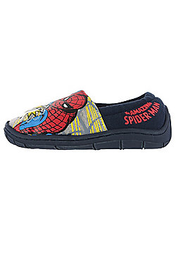 Boys Spiderman Flashing Badge Red & Blue Elasticated Slippers Kids Various Sizes - Blue & Red