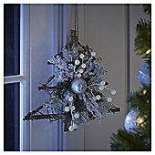 Silver Rattan Tree Christmas Hanging Decoration, 30cm