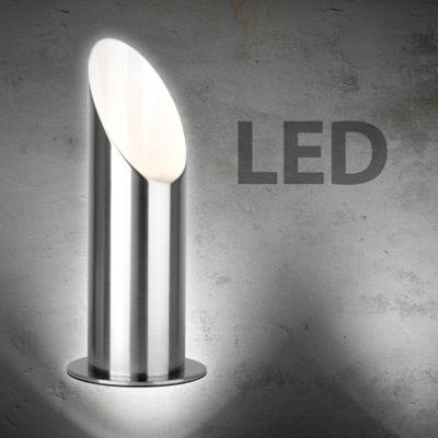 LED Uplighter Floor Lamp, Brushed Chrome