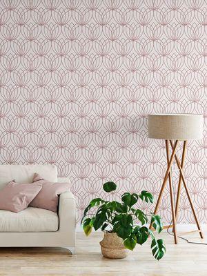 Lotus Geometric Wallpaper Rose Gold Muriva 148503