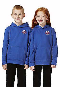 Unisex Embroidered School Hoodie with As New Technology - Royal blue