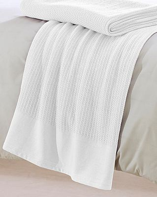 Belledorm White Cellular Single Blanket 100% Cotton 180cm x 228cm