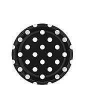 Black Polka Dot Dessert Plates - 18cm Paper Party Plates