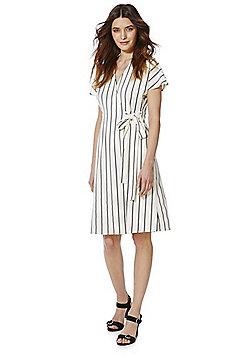 Vero Moda Lucca Striped Wrap Dress - Cream