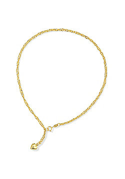 "Jewelco London 9ct Yellow Gold - Singapore' Anklet - 10"" / 25cm"